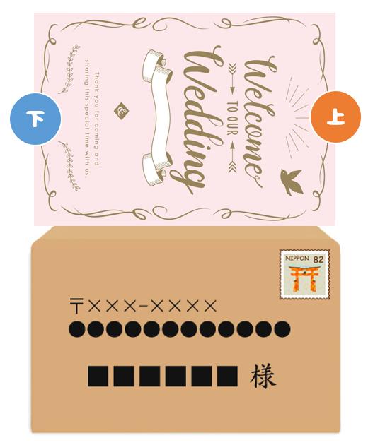 封筒:横書き/招待状:縦書き