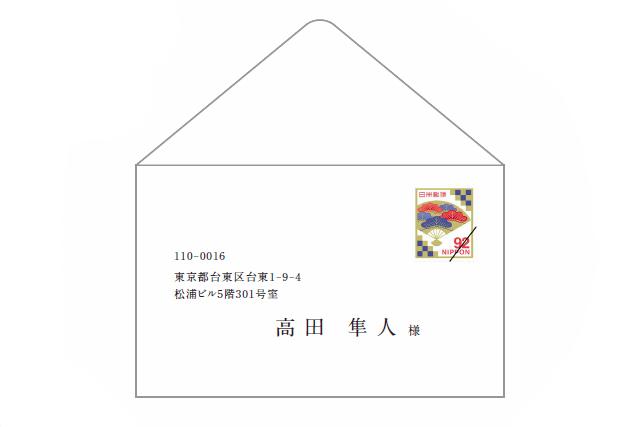 招待状の切手の位置