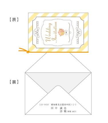 招待状の封入(縦デザイン・封筒横)/手渡し