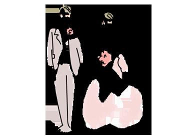 タキシードとウェディングドレスを着た新郎新婦のイラスト
