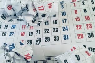 予定がくるったを表現したカレンダー