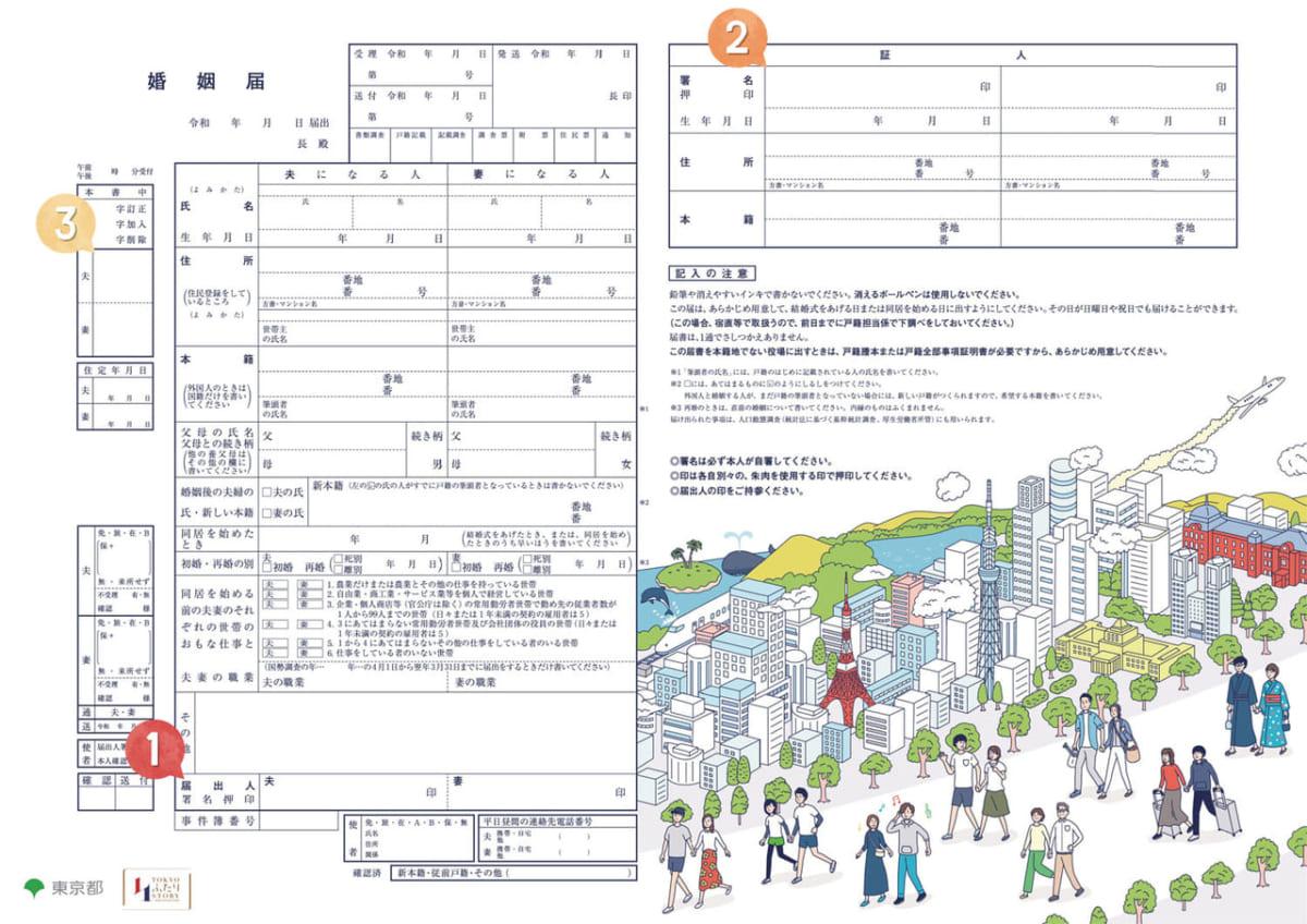 東京都のオリジナル婚姻届