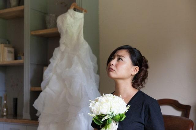 心配な顔の花嫁さま