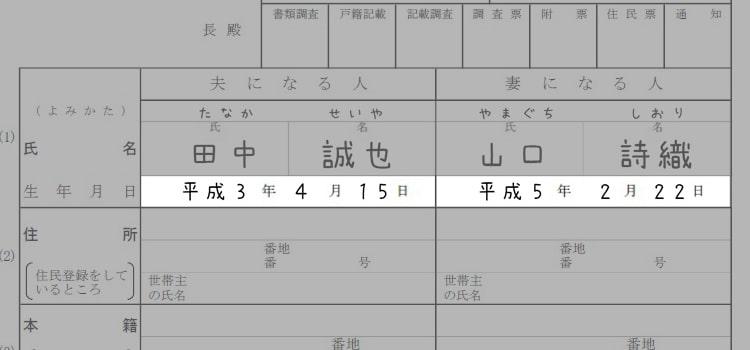婚姻届の書き方『生年月日』