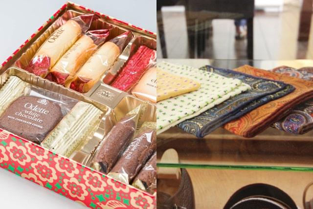 個包装の洋菓子とハンカチ