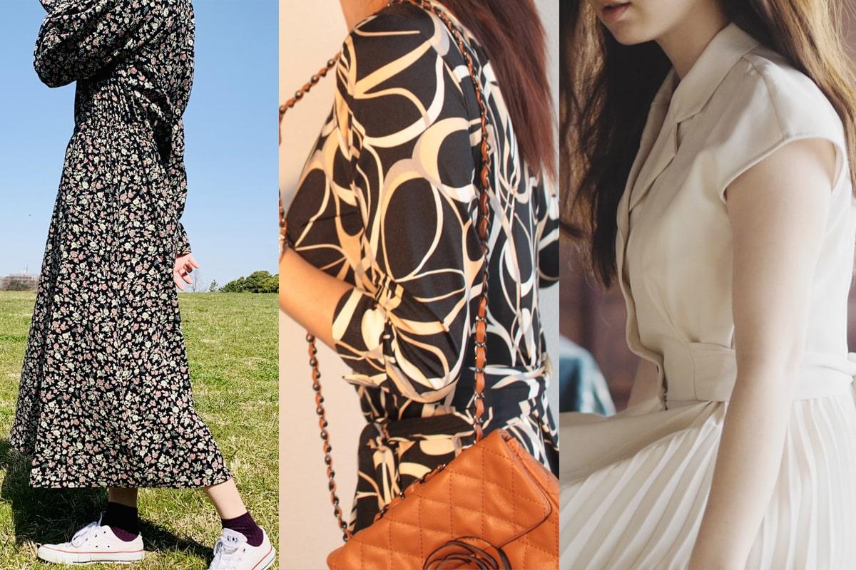 さまざまなデザインの女性用ワンピース