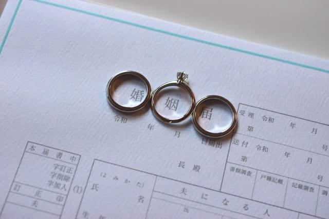 指輪と婚姻届
