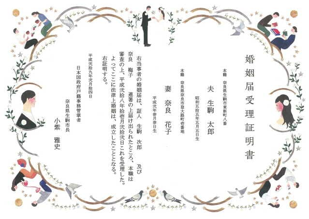生駒市の婚姻届受理証明書