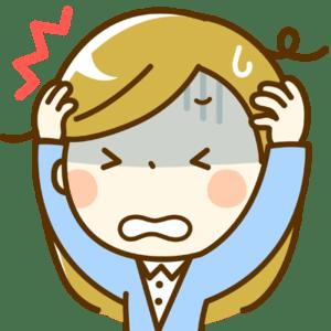悩みすぎて頭を抱える女の子のイラスト