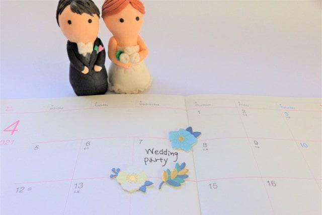 カレンダーにメモした結婚式の日