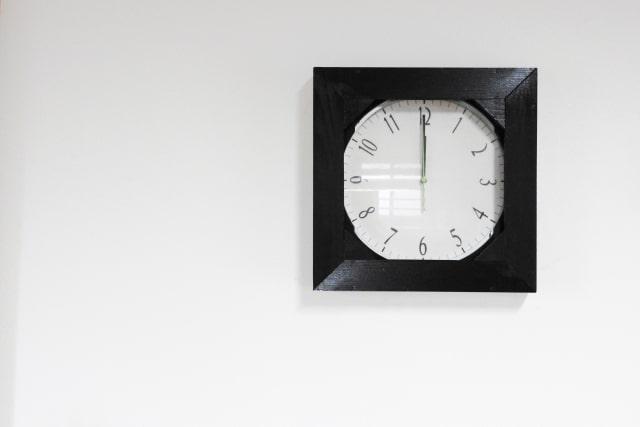 お昼休憩の12時を指す時計