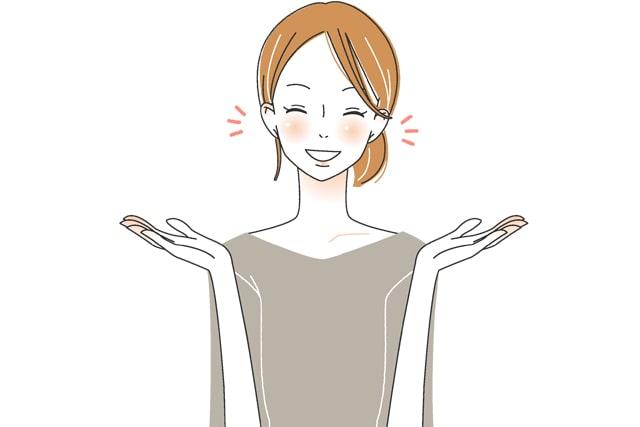 身振り手振りで話をする女性のイラスト