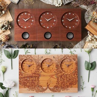 木の暮らし「三連時計」