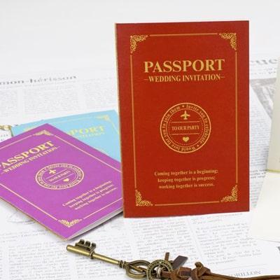 アンシェウェディング招待状「WEDDING PASSPORT(RED)」