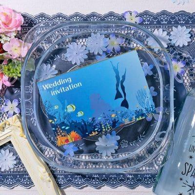アンシェウェディング招待状「blue mermaid-ダイビング-」