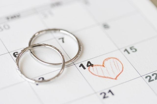 カレンダーと結婚指輪