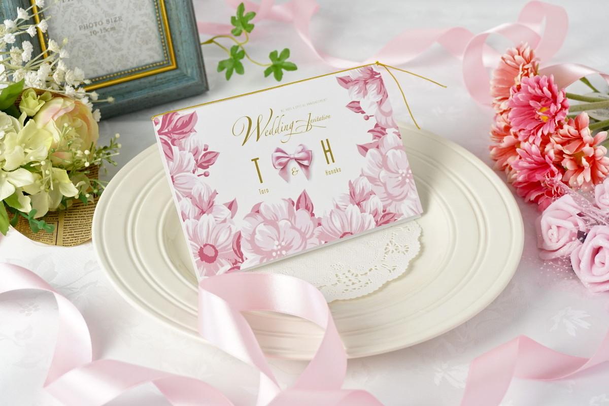 ピンクの結婚式招待状