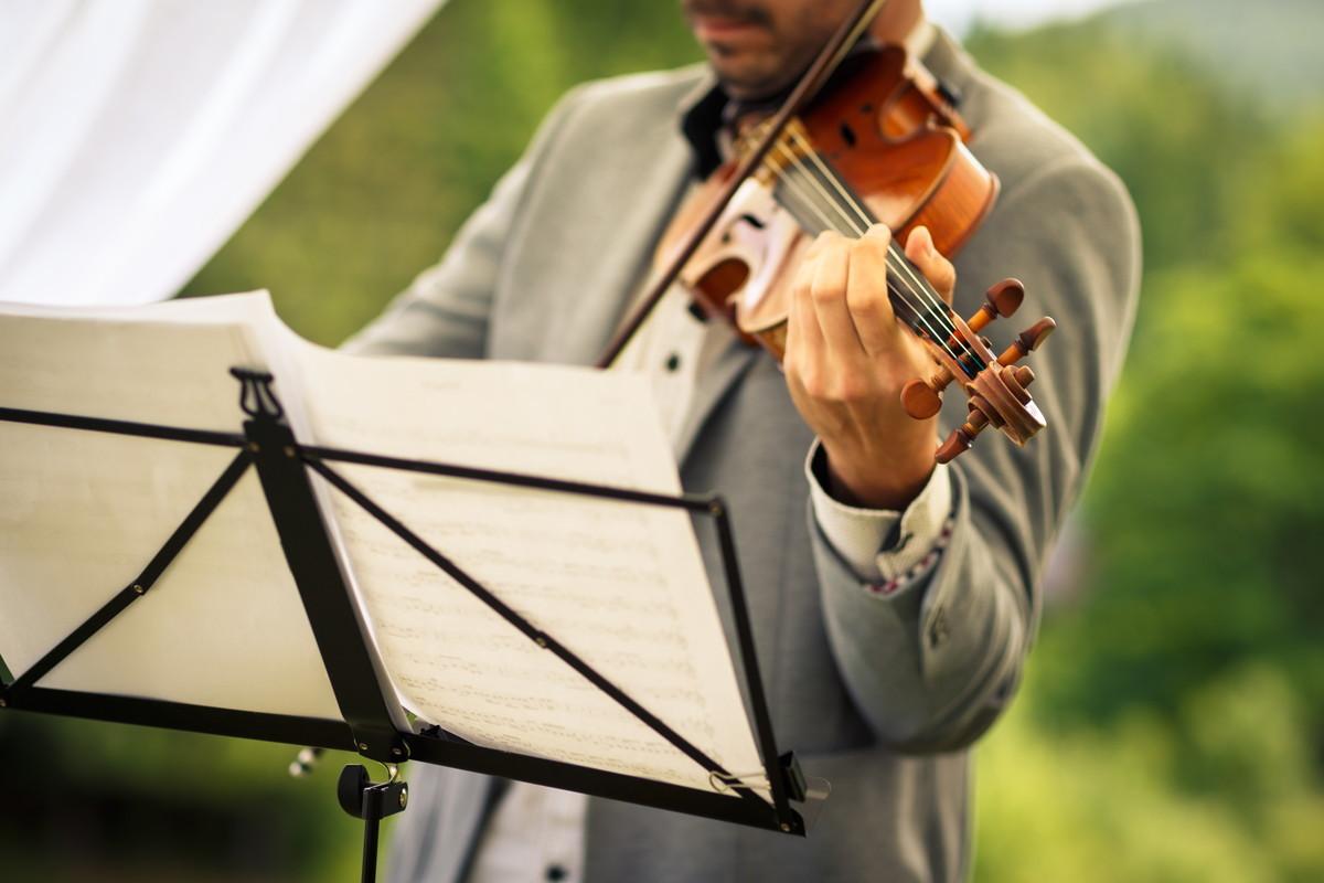 バイオリンを奏でるバイオリニスト