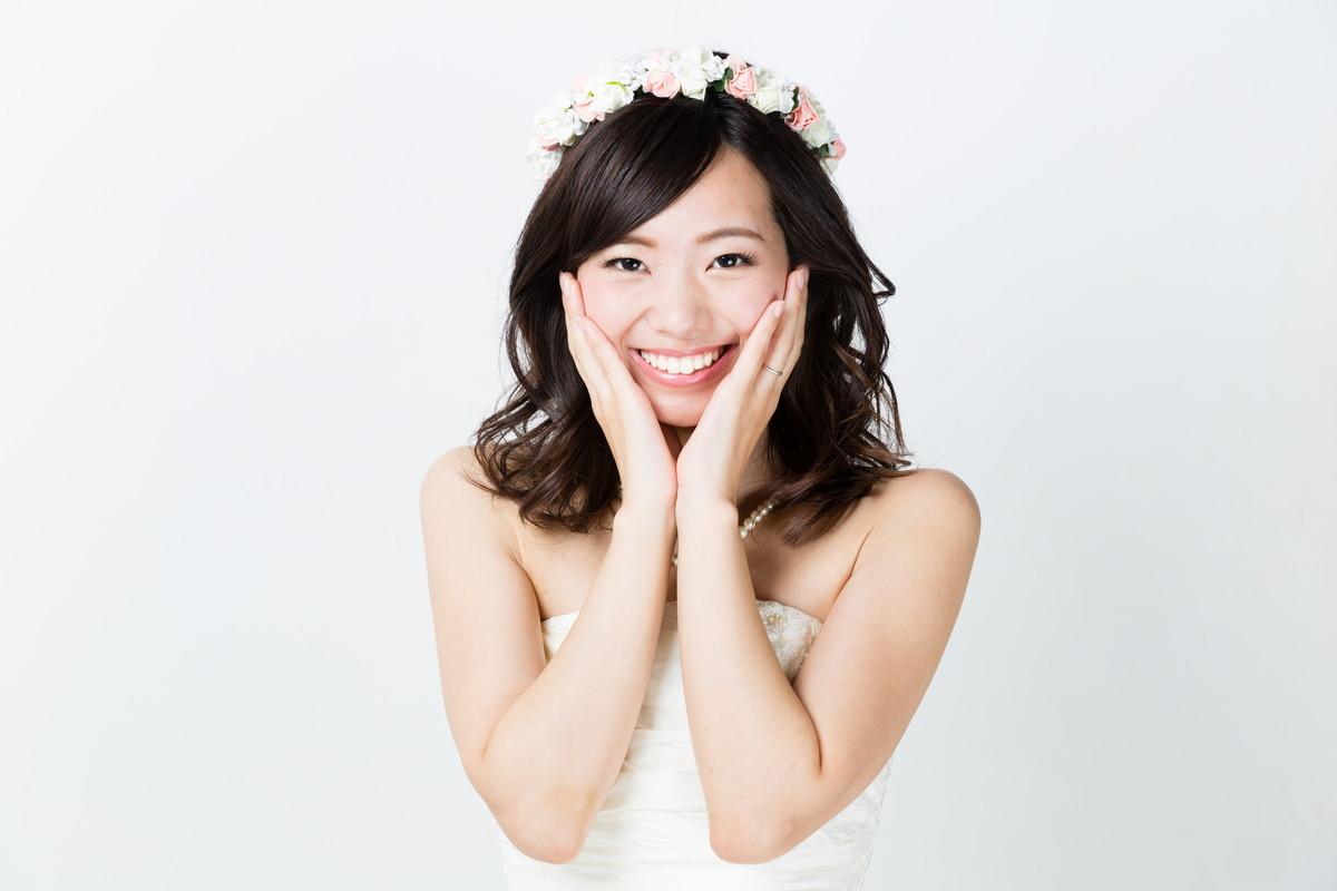 喜んでいる花嫁さま
