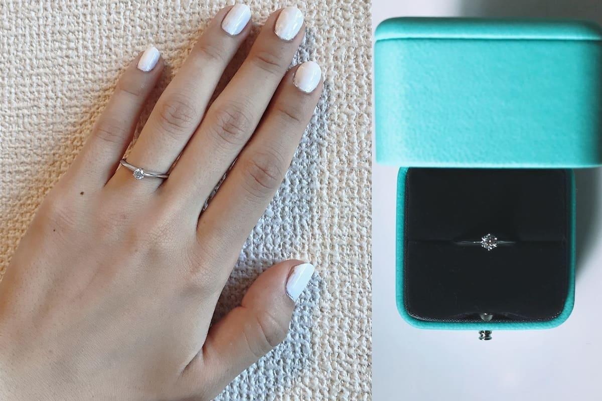 Chikaさんの結婚指輪(ビジュピコ)と婚約指輪(ティファニー)