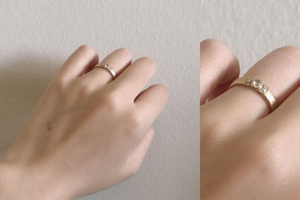 よねこさんの結婚指輪と婚約指輪(agete)