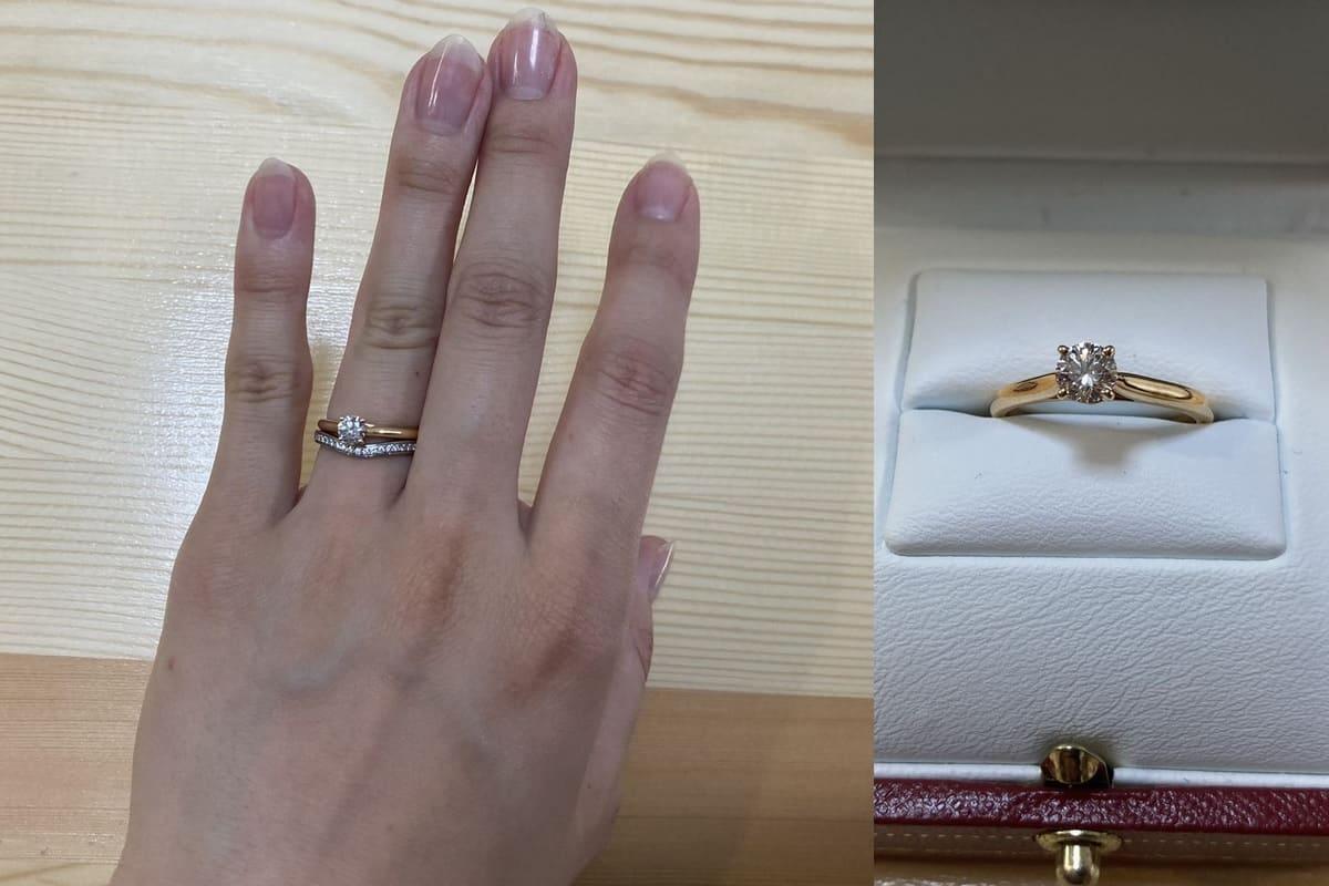 かずきさんの結婚指輪と婚約指輪(カルティエ)